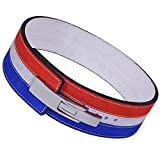 ARD-Champs 10MM Weight Power Lifting Leather Lever Pro Belt Gym Training Red,White & Blue (Medium)