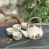 JIANGPENG Set da tè in Stile Giapponese teiera Smaltata Dipinta a Mano teiera in Ceramica Set da tè Una pentola Quattro Tazze Regalo Creativo tè Ristorante Tazza da tè