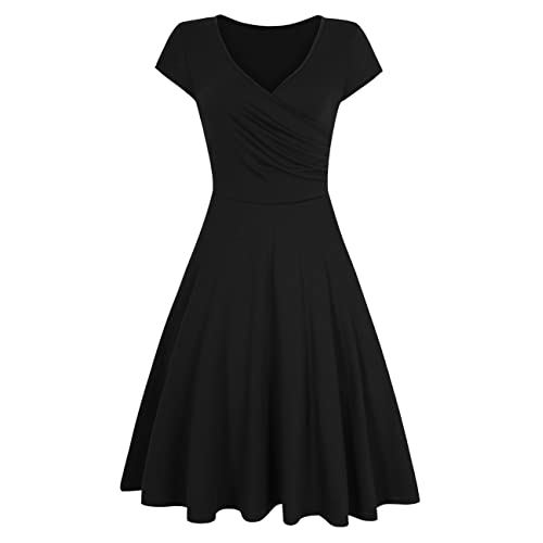 c392f54e427 HiQueen Women V-Neck A-Line Fit Flare Swing Party Dress