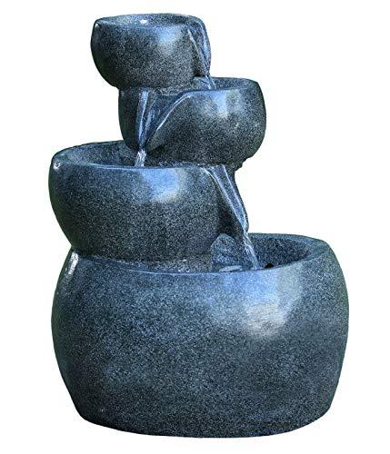 Dehner Gartenbrunnen Bowl mit LED Beleuchtung, ca. 66 x 49 x 42 cm, Polyresin, grau