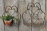 Wandhalterung, Wand-Korb 2er-Set aus Metall in antikbraun, Länge ca. 31 cm und 39 cm