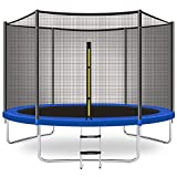 CalmMax Trampoline 10FT Jump Trampoline with Enclosure - ASTM Approved - Combo Bounce Outdoor Trampoline for Kids Family Happy Time