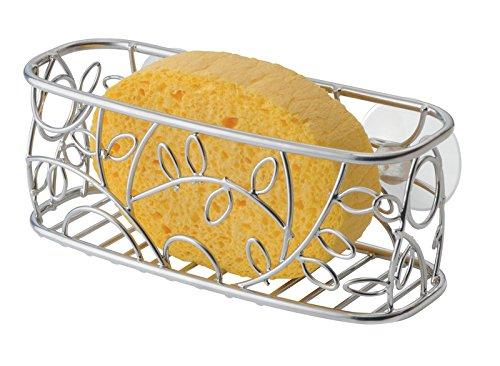 mDesign jabonera - Repisa baño Ideal como Soporte para esponjas, estropajos o jabón - Accesorios de baño sin Taladro Color Plateado