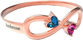 Shiny Alice Personalized Infinity Mothers Ring with 2 Round Simulated Birthstones Engagement Promise Rings for Women