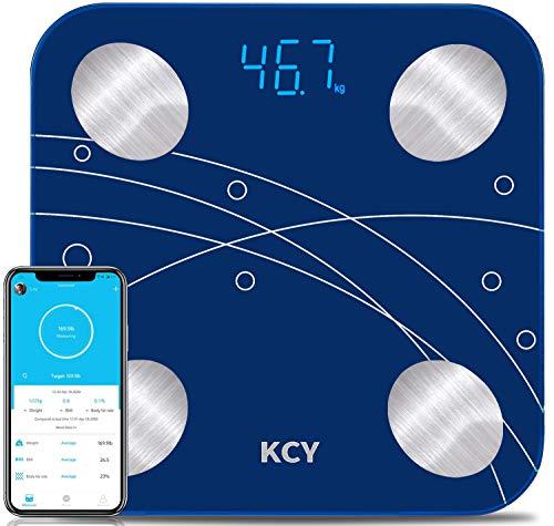 KCY Bluetooth Body Fat ScaleSmart Wireless Bathroom Scale for Body WeightLED Digital Weighing Percentage ScaleBMIBMR 15 Key Body Composition Monitor Health Analyzer with Smartphone App SyncBlue