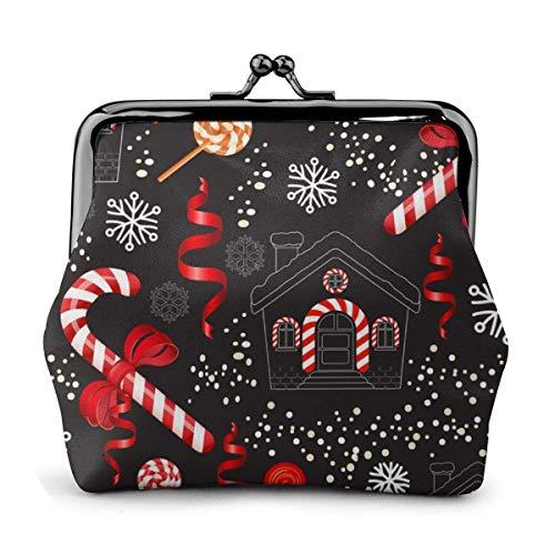 Bastoncino di zucchero natalizio con fiocco rosso Lecca lecca Portafoglio da donna stampato Portafoglio in pelle Portafogli da viaggio Kiss-Lock