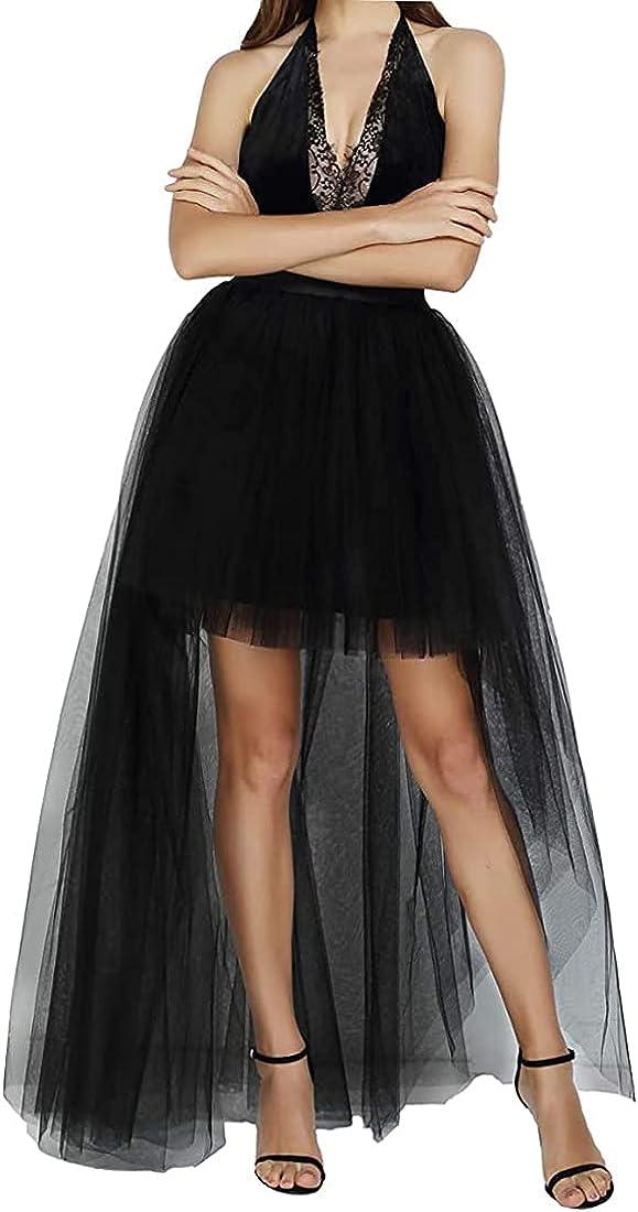 Globalwells Women High Low Tutu Skirts Layered Mesh Tulle Skirt Princess Wedding Evening Prom Dovetail Skirts