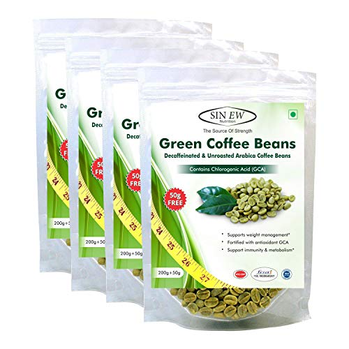 Sinew Nutrition Green Coffee Beans 800g + 200g FREE (250g x 4 PC) for Weight Management, Green Coffee