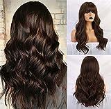 Peluca marrón negro encantadora, peluca larga para mujer, peluca sintética rizada natural resistente al calor, adecuada para mujeres blancas(con flequillo)- 24 pulgadas
