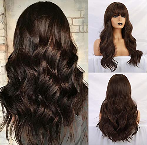 Esmee 24' Long Brown Color Synthetic Natural Wave Wigs with Neat Bangs for White/Black Women Party Wear.