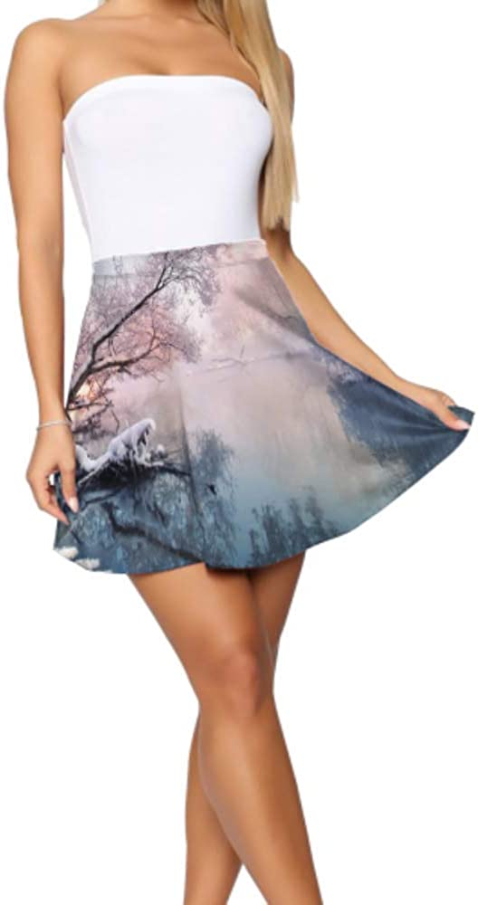 High Waist Mini Skirts for Women Beautiful White Winter Snow Scene Mini Flare Skirt Women's Basic Casual Girls Fit Flare Skirt S-XL
