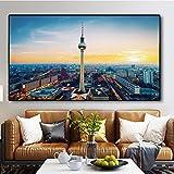 OCRTN Carteles de Paisaje de Torre de TV de Berlín de Alemania, Imagen artística de Pared, Paisaje de Ciudad, decoración de Pared, Lienzo, Arte de Pared, 60x100 cm (sin Marco)