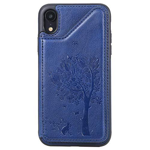 Bear Village Coque iPhone XR, Magnétique Portefeuille Housse en Cuir, Ultra Slim Antichoc Coque avec Slots de Carte pour iPhone XR, Bleu