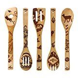 Burned Wooden Spoons Kitchen Decration Christmas Gift Birthday Idea Utensil Set Castle Style Present Spoons 5 Piece