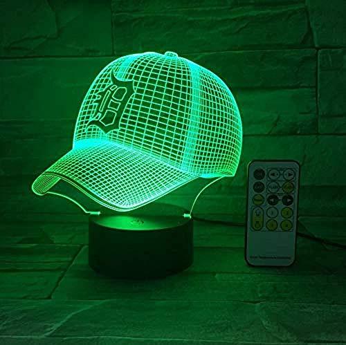 Presentatie met 3D-honkbalpet, 3D-honkbalpet, nachtlicht, optische verlichting met sfeerlicht, touch 7 gezinslampen, kleur