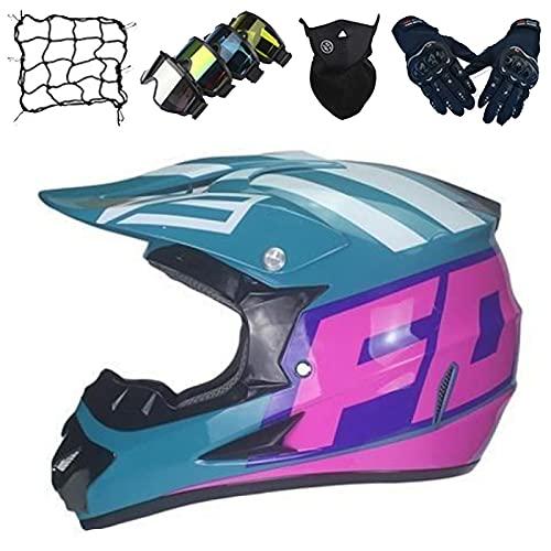 Casco Motocross Niños, Casco Motocicleta para Adultos y Jóvenes, Casco Integral para Motocicleta, Casco de Choque Cruzado para MTB Downhill Dirt Bike MX Quad ATV - con Diseño Fox - Verde