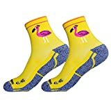 HOOPOE Pack Calcetines Running Divertidos, 2 Pares, Hombres, Mujer, sin Costuras, Térmicos, Amarillo, GoodVibes, Talla 36-40