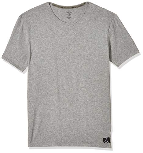 Calvin Klein Herren T-Shirt S/S CREW NECK, Gr. Large, Grau (GREY HEATHER 080)