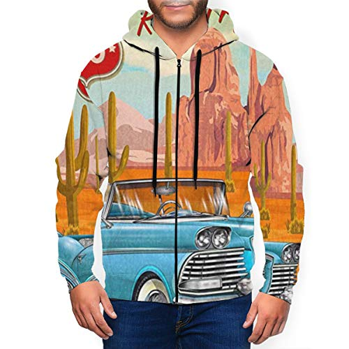Route 66 Vintage Arizona Road Trip Cactus Herren 3D Gedruckt Full Zip Langarm Hoodies Coole Jacke Sweatshirts mit großen Taschen Gr. Large, Schwarz