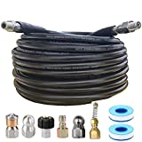 MAMIA PAIRS 50FT Sewer Jetter Kit for Pressure Washer,Sewer Jetter Nozzles Kit,Drain Cleaning Hose for Pressure Washer,Corner,Button Nose and Rotating Sewer Jetting Nozzle,5800 PSI