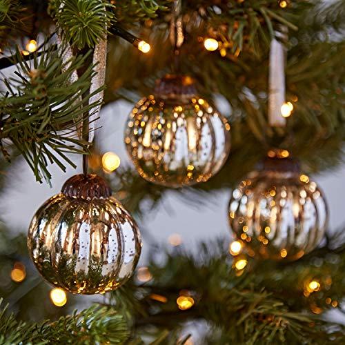 Fair Trade Weihnachtsbaumkugeln aus Glas -klein - drei