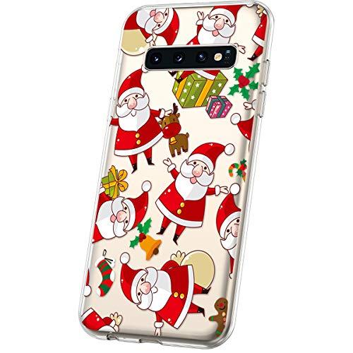 JAWSEU Compatible avec Samsung Galaxy S10 Coque Transparent Silicone,Ultra Mince Souple Cristal Clair Housse Coque Belle Neige de Noël Christmas Snowflake Motif Coque de Protection,#11