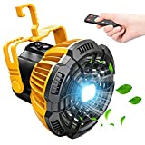 Camping Fan with LED Lantern, 7800mAh Rechargeable Portable Tent Fan with Remote Control, Power Bank, 180°Head Rotation, Perfect Quiet Battery Operated USB Fan for Picnic, Barbecue, Fishing
