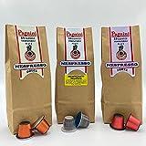 Cápsulas de café compatibles con Nespresso, sabor dulce, fuerte y descafeinado paquete de 3 de 20 cápsulas. Café espresso italiano sostenible