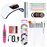 Yissma Nagellampe Starter Kit, UV Nagelack Gel LED Nageltrockner Maniküre Werkzeuge Set mit Nagelfeilen Nagelbürste Strass