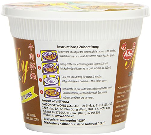 A-One Fideos Instantáneos En Vaso, Sabor Carne De Res 60 g