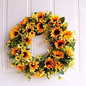 17 Inch Sunflowers Blossom Welcome Spring Front Door Wreath Artificial Flower Floral Twig Door Wreath Door Wall Window Hanging Artificial Sunflowers Flower Wreath for Home Party Festivals Decoration
