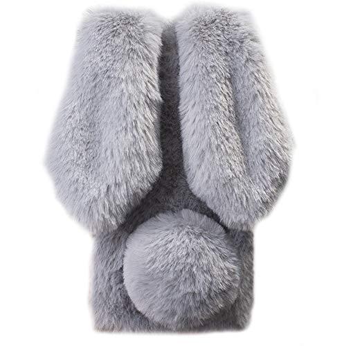 HongHushop Plüsch Hülle für Wiko Harry 2 / Tommy 3 Plus Niedlich Pelzig Flauschige Hase Ohren Weich Schützend Handy Abdeckung Schale für Wiko Harry 2 / Tommy 3 Plus -Hellgrau