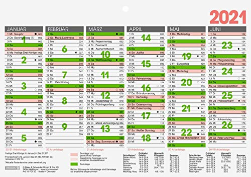 BRUNNEN 1070150001 Tischkalender/Tafelkalender A 5 Modell 701 50, 1 Seite = 6 Monate, kräftiger Karton, Kalendarium 2021