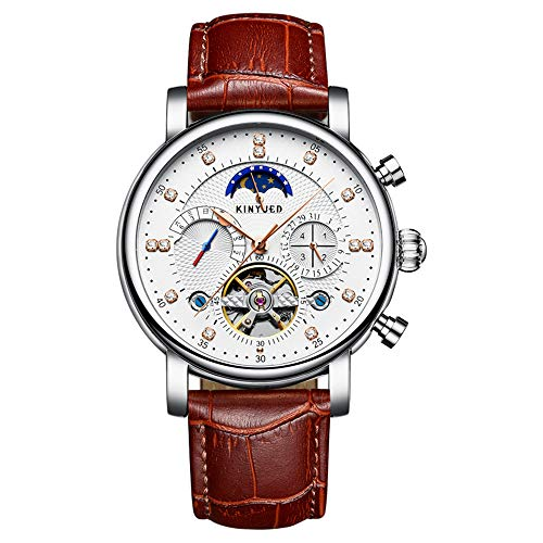 KINYUED - Reloj mecánico automático de piel auténtica, esqueleto para hombre, reloj de negocios, cronógrafo, fase lunar, semana, calendario + caja