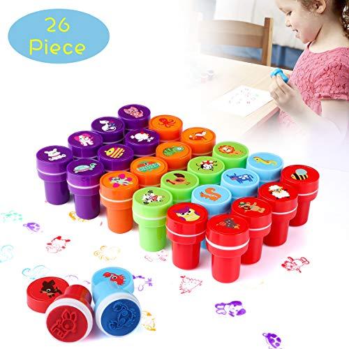 Wokkol Stempel Kinder, Kinder Briefmarken, Stempel für Kinder Niedliche Spielzeugstempel aus Plastik Rich in Muster, EIN gutes Spielzeug für Kinder zum Unterhalten (26 PCS)