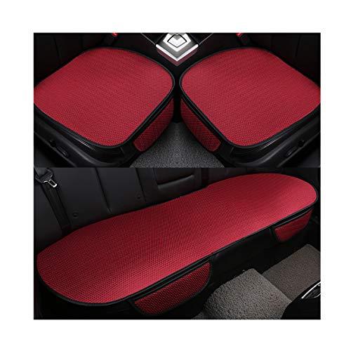 GUOCU Auto-Sitzkissen, Sommer-Auto-Sitz-Kissen-einzelne Auflage-EIS-Seide-Quadrat-Auflage Backless Universal Anti-Rutsch-freies, das Sitz-Kissen bindet,Rot,Vordersitz & Rücksitz