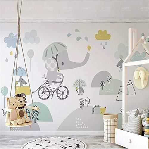 Fotobehang muurschilderingen op maat Gepersonaliseerde Leuke Fiets Olifant Hamster Cloud Kinderen Achtergrond Muur Papel De Parede 3D Behang 200 * 140cm