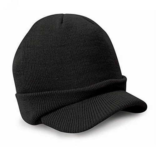 Leories Knitted Hat Windproof Cap Outdoor Warm Earflap Hat with Visor Black