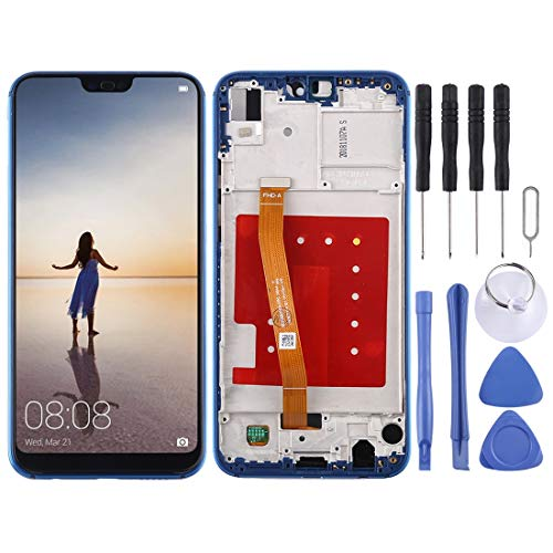 Compatibele Vervangings LCD-scherm en Digitizer Volledige Vergadering met Frame for Huawei P20 Lite/Nova 3e Accessory (Color : Blue)