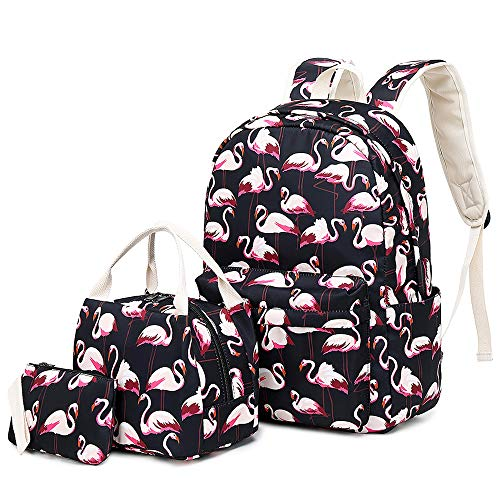 Lmeison Flamingo Backpack Waterproof, College Bookbag with Lunch Bag and Pencil Case for Women Girls, Lightweight Travel Daypack 14inch Laptop Bag for School