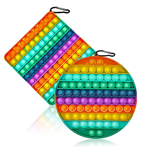 GAMTOOCA Big Size 2 Pcs Bubble Fidget Sensory Toy 7.9 inch, Simple Dimple Silicone Sensory Toy, 200 Bubbles Colorful Stress Reliever Toy for Kids and Adults(Square&Round)