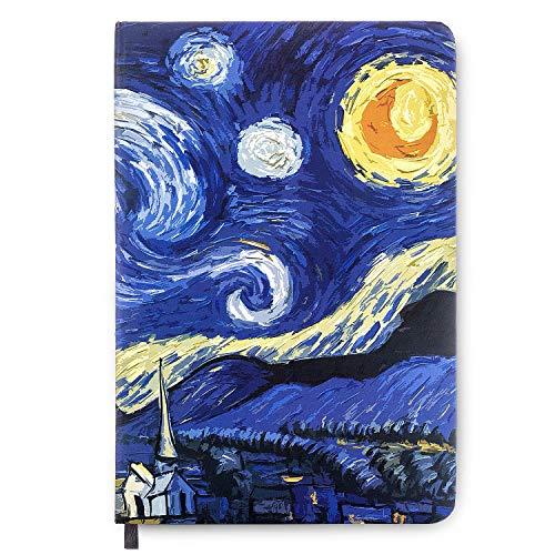 Czemo Cuaderno A5 Libretas Bonitos Bloc de Notas Van Gogh Cuaderno artístico de bolsillo con tapa dura Diario de Viaje con Páginas Rayadas (La Noche Estrellada)