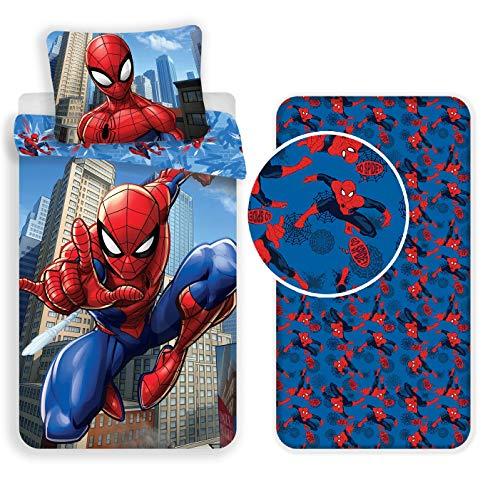Spiderman 3 Pezzi Set Letto Singolo Copripiumino + Federa + Lenzuola c/Angoli Cotone Biancheria da Letto Bambini