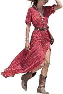 haoricu Women Dress, Women Boho Summer Chiffon Floral Beach Long Maxi Dress Without Belt