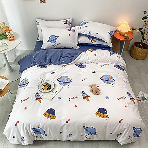 Kinderbettwäsche 135x200 für Jungen und Mädchen Baumwolle Weltraumreisen Thema Besttwäsche mit Süß Muster und Reißverschluss Bettwäsche 135x200cm+80x80cm 2tlg