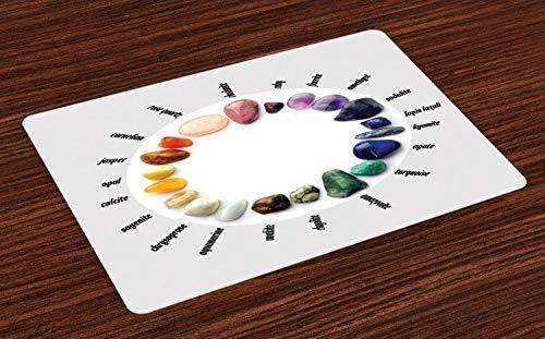 Juego de 4 manteles individuales de piedras, piedras preciosas naturales y nombres escritos con escala de cambio de color, resistentes al calor, lavables para mesa de comedor, multicolor