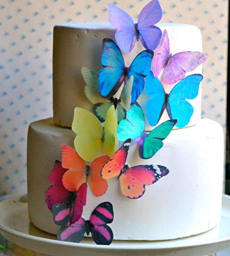 Edible Butterflies -Large Rainbow Variety Set of 12 - Cake and Cupcake Toppers, Decoration