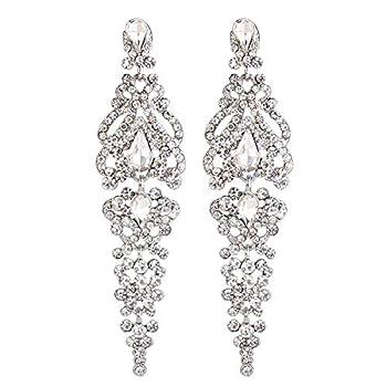 BriLove Wedding Bridal Dangle Earrings for Women Crystal Cluster Teardrop Earrings Clear Silver-Tone