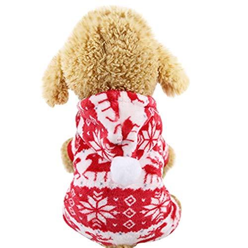 Heartcheng Haustier-Kostüm für Herbst und Winter mit Kapuze, süßer Weihnachten Elch-Kostüm, Weihnachtsmannkostüm, weicher Korallen-Samt warme Kleidung (XS-XXL