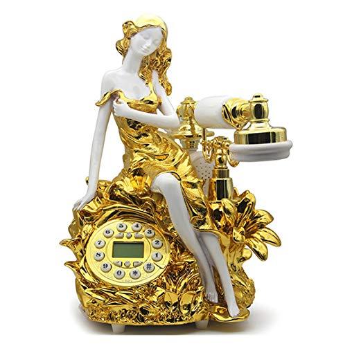 WSZMD Teléfono Pared Retro Teléfono Fijo Retro Antiguo Teléfono Fijo Vintage Teléfono Real para Casa Oficina De Belleza Metal Retro (Color : Gold)